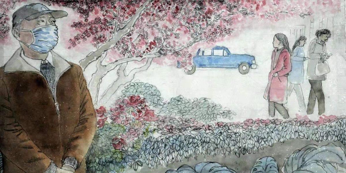 """65岁老党员一支画笔""""讲述""""南京故事"""