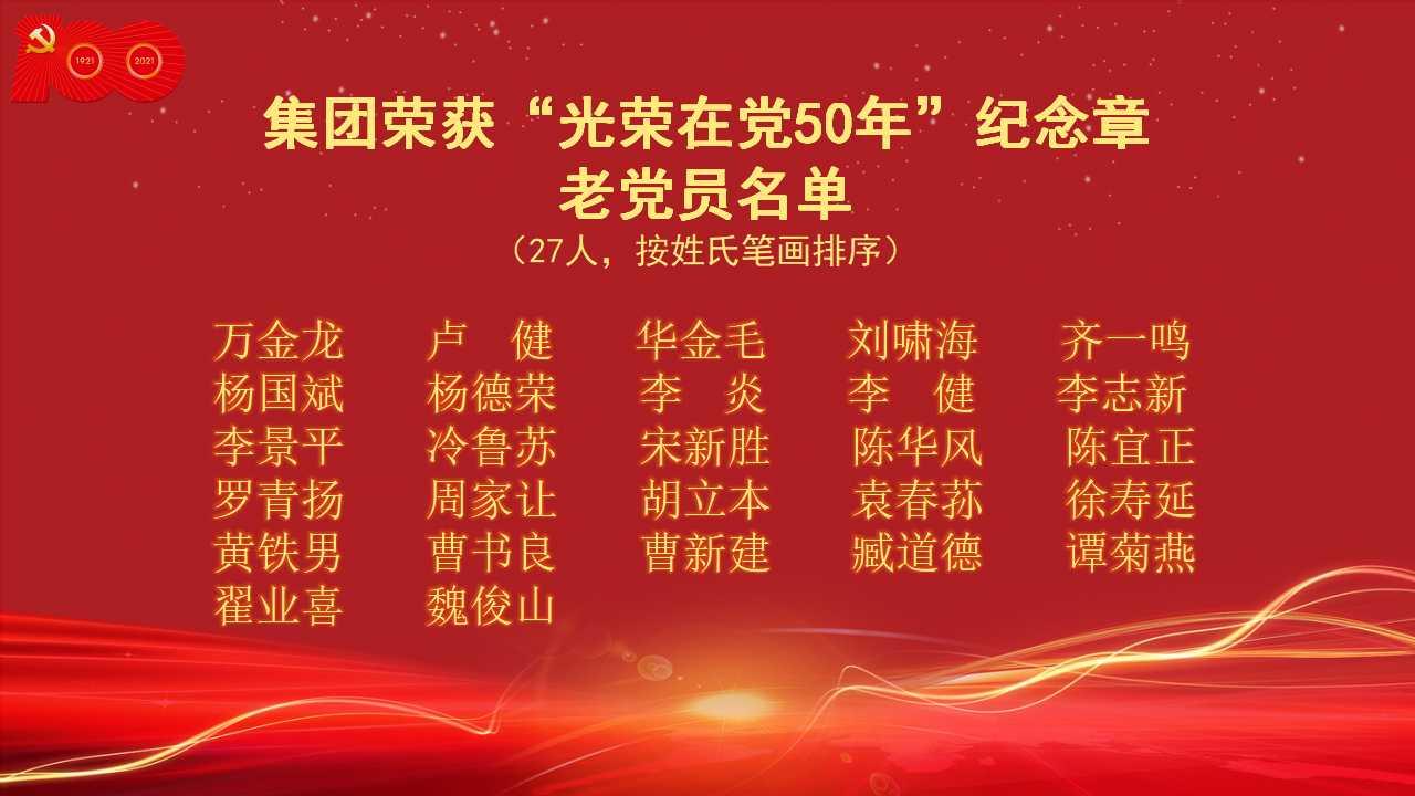 """荣获""""光荣在党50年""""纪念章老党员名单。"""
