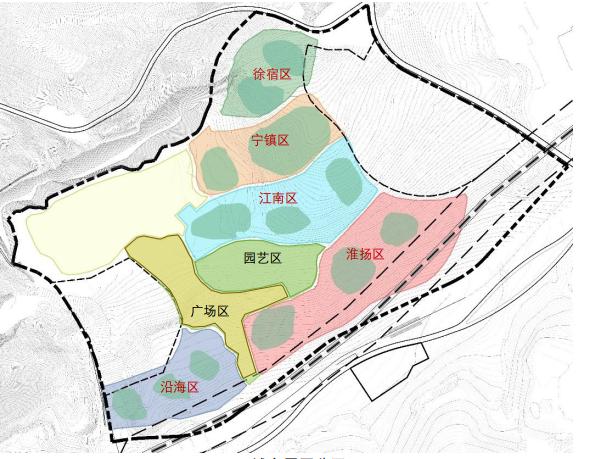 展園五個片區示意圖。建設方供圖