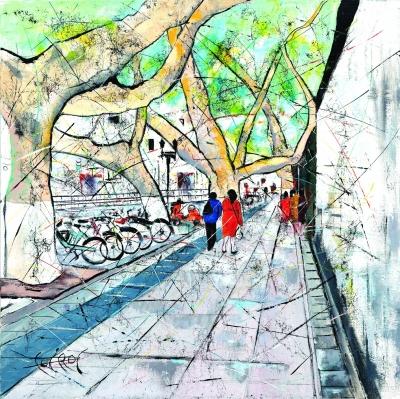 帕赫作品《漫步南京梧桐樹下》