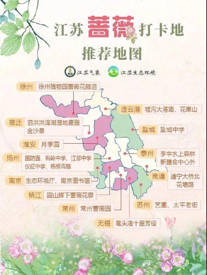 江蘇薔薇打卡地圖。@江蘇氣象 @江蘇生態環境供圖