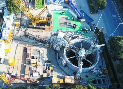 国内首座盾构技术沉井式车库正在向下掘进。南京建邺高投供图