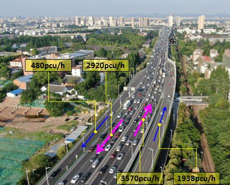 应天大街高架交替通行前的交通状况。南京交警 供图