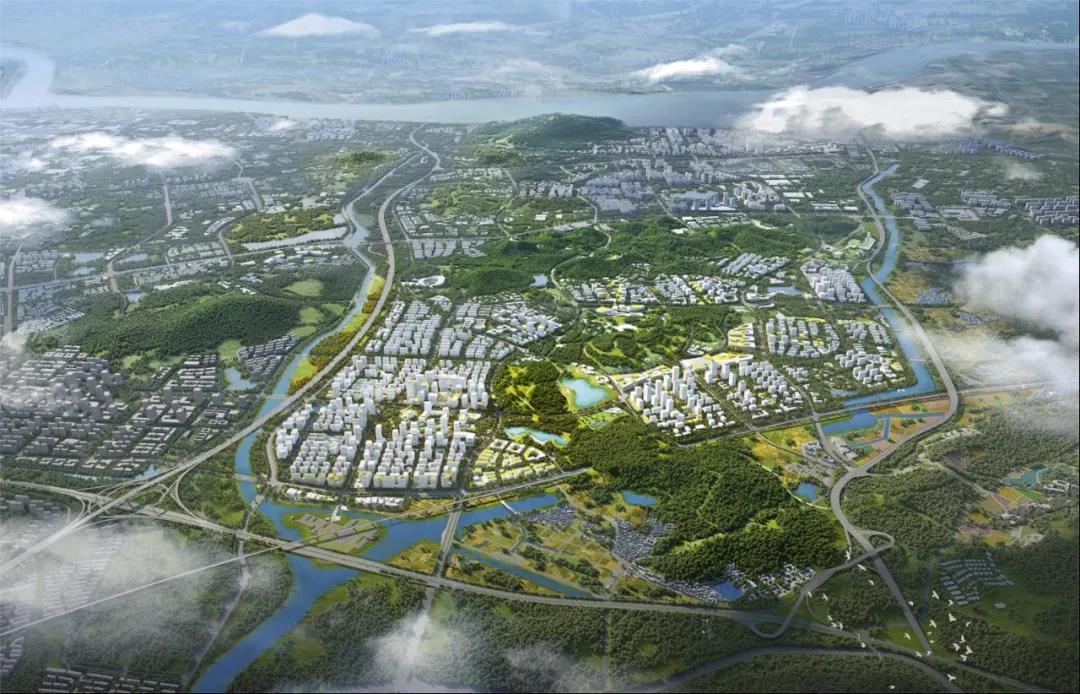 紫东地区核心区自南向北鸟瞰图。图片来源:南京市规划和自然资源局