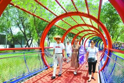 南京市民在长江大桥下新建的湿地公园内欣赏风光。南报融媒体记者 崔晓摄