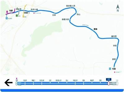 S6号线线路图,站点及线路走向仅供参考。 南京地铁供图